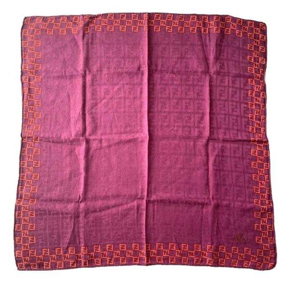 Fendi Orange Pink Zucca Print Square Silk Scarf